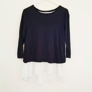 LOFT Outlet Sweater Polka Dot Underlay Size S
